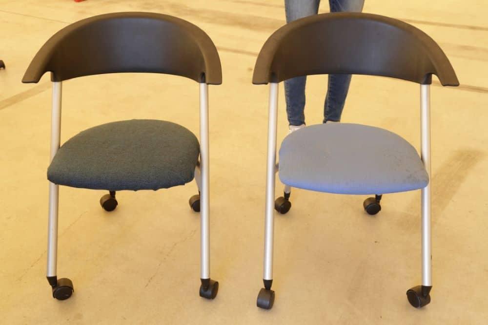 座面の布を張り替えてリメイクした椅子