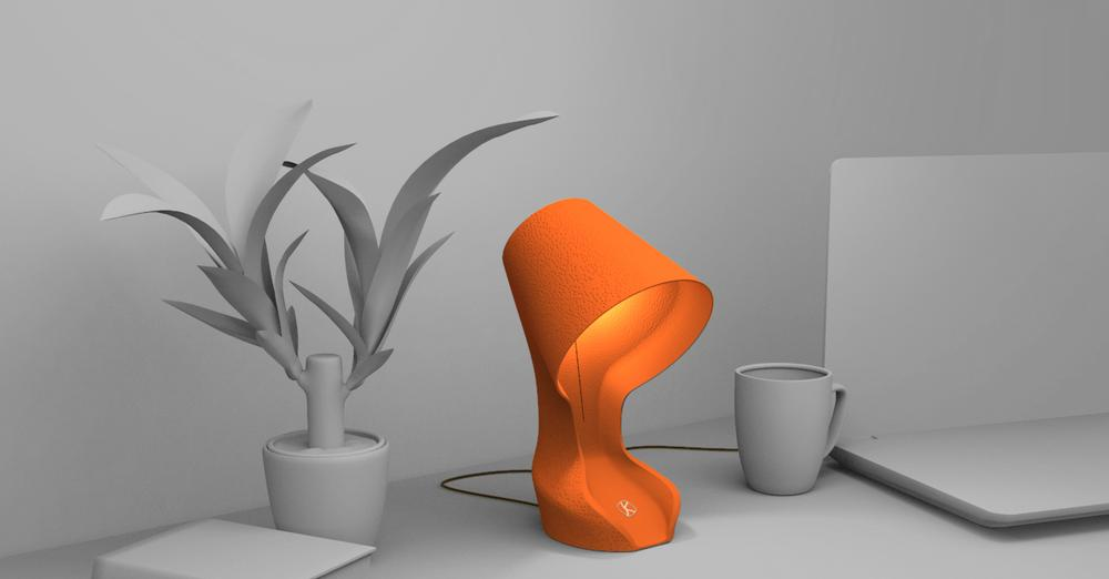 オレンジの皮からできた、土に還るテーブルランプ
